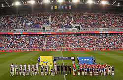 September 1, 2017 - Harrison, NJ, USA - Harrison, N.J. - Friday September 01, 2017: The National teams of USA and Costa Rica starting eleven's during a 2017 FIFA World Cup Qualifying (WCQ) round match between the men's national teams of the United States (USA) and Costa Rica (CRC) at Red Bull Arena. (Credit Image: © John Todd/ISIPhotos via ZUMA Wire)