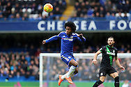 Willian of Chelsea heading the ball . Barclays Premier league match, Chelsea v Stoke city at Stamford Bridge in London on Saturday 5th March 2016.<br /> pic by John Patrick Fletcher, Andrew Orchard sports photography.