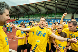 Milan Dajic, Dejan Grabic, coach, Luka Zinko during celebration of NK Bravo, winning team in 2nd Slovenian Football League in season 2018/19 after they qualified to Prva Liga, on May 26th, 2019, in Stadium ZAK, Ljubljana, Slovenia. Photo by Vid Ponikvar / Sportida