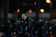 Warren Feeney, the Newport County FC manager walks off the pitch at full-time. Skybet football league two match, Newport county v Hartlepool Utd at Rodney Parade in Newport, South Wales on Tuesday 15th March 2016.<br /> pic by Andrew Orchard, Andrew Orchard sports photography.