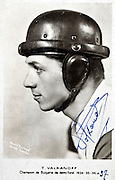 signed portrait of Tweston Valkanoff cycling middle distance 1930s multi years champion
