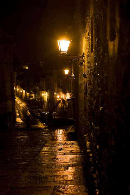 Night scene in the streets of Santiago de Compostela in Galicia, Northern Spain RESERVED USE