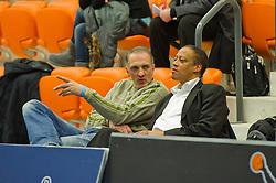 30-01-2011 BASKETBAL: DAMES ALL STAR GALA: ROTTERDAM<br /> Laki Lakner (L) (Probuild Lions) is coach van team Zuid<br /> ©2011-WWW.FOTOHOOGENDOORN.NL / Peter Schalk