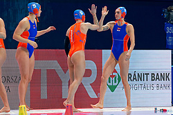 Catharina Van Der Sloot #4 of Netherlands, Nomi Stomphorst #6 of Netherlands, Iris Wolves #5 of Netherlands during the semi final Netherlands vs Russia on LEN European Aquatics Waterpolo January 23, 2020 in Duna Arena in Budapest, Hungary