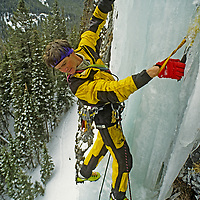 """ICE CLIMBING, Alex Lowe repeats his first ascent of """"Come & Get It,"""" a hanging ice needle in Hyalite Canyon, near Bozeman, Montana"""