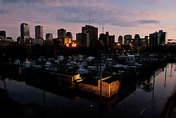 29 August, 2005. New Orleans, Louisiana.<br /> Hurricane Katrina hits New Orleans. The calm after the storm. Few lights shine out from the Crescent City in an eerie darkness following Katrina.  <br /> Photo; Charlie Varley.