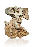 Roman Sebasteion relief  sculpture of the goddess Victory, Aphrodisias Museum, Aphrodisias, Turkey.   Against a white background.<br /> <br /> A winged goddess Victory( Nike) flies past carrying a military trophy. She wears a long light dress and has one breast and one leg exposed. Her clothing is set in motion by her swift flight. .<br /> <br /> If you prefer to buy from our ALAMY STOCK LIBRARY page at https://www.alamy.com/portfolio/paul-williams-funkystock/greco-roman-sculptures.html . Type -    Aphrodisias     - into LOWER SEARCH WITHIN GALLERY box - Refine search by adding a subject, place, background colour, museum etc.<br /> <br /> Visit our ROMAN WORLD PHOTO COLLECTIONS for more photos to download or buy as wall art prints https://funkystock.photoshelter.com/gallery-collection/The-Romans-Art-Artefacts-Antiquities-Historic-Sites-Pictures-Images/C0000r2uLJJo9_s0