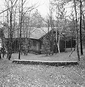 Gordon MacQuarrie's cabin on Middle Eau Claire Lkae in Bayfield County, Wisconsin. ca. 1942