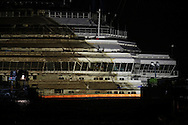 The Costa Concordia wreck at the end of the parbuckling operations goes back to the right positions