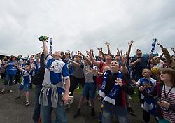 Bristol Rovers fan catches a Goal keeper Will Puddy glove.  - Photo mandatory by-line: Alex James/JMP - Mobile: 07966 386802 - 25/05/2015 - SPORT - Football - Bristol - Memorial Stadium -    Bristol Rovers Bus Tour