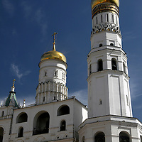 Europe, Russia, Moscow. Ivan the Great Bell Tower and Bono Tower of the Kremlin.