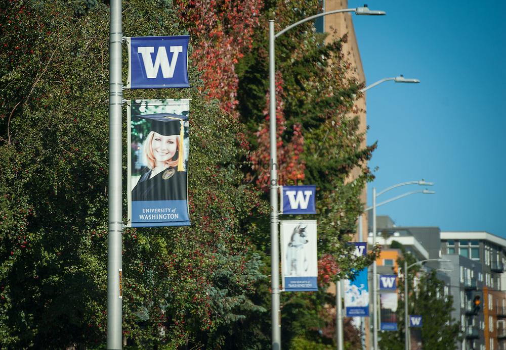 2016 October 11 - University of Washington signs, University District, Seattle, WA, USA. By Richard Walker