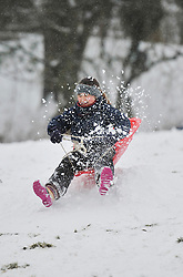 © Licensed to London News Pictures. 20 January 2013. Chipping Norton, Oxfordshire. Ellie Williams (9).Fun in the snow at Chipping Norton. Photo credit : MarkHemsworth/LNP