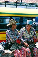 Guatemalan men in native costume at the market, Solola, Lake Atitlan, Western Highlands, Guatemala