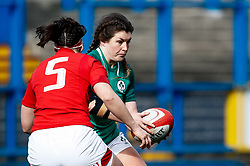 Anna Caplice of Ireland  under pressure from Mel Clay of Wales<br /> <br /> Photographer Simon King/Replay Images<br /> <br /> Six Nations Round 5 - Wales Women v Ireland Women- Sunday 17th March 2019 - Cardiff Arms Park - Cardiff<br /> <br /> World Copyright © Replay Images . All rights reserved. info@replayimages.co.uk - http://replayimages.co.uk