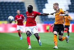 Famara Diedhiou of Bristol City takes on Jordy de Wijs of Hull City - Mandatory by-line: Robbie Stephenson/JMP - 24/08/2019 - FOOTBALL - KCOM Stadium - Hull, England - Hull City v Bristol City - Sky Bet Championship