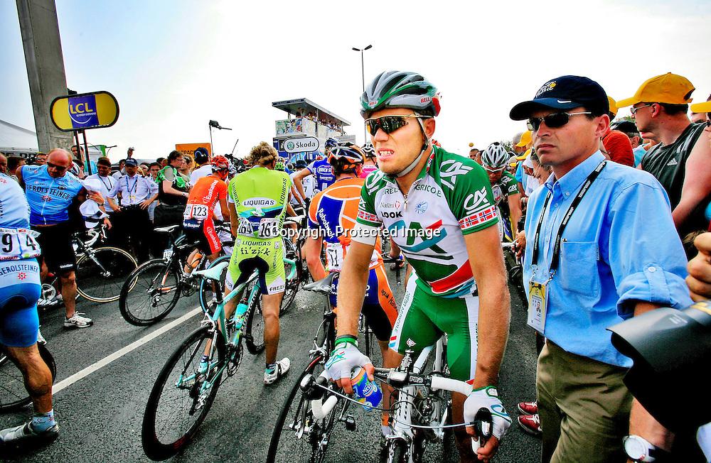 Caen, Frankrike, 20060706:  Thor Hushovd kom på 7. plass på den femte etappen i Tour de France. ..Foto: Daniel Sannum Lauten/ Dagbladet *** Local Caption *** Hushovd,Thor