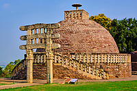 Inde, état du Madhya Pradesh, Sanchi, monuments bouddhiques classés Patrimoine mondial de l'UNESCO, Stupa N°3 // India, Madhya Pradesh state, Sanchi, Buddhist monuments listed as World Heritage by UNESCO, Stupa N°3