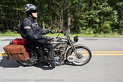 Cris Sommer Simmons of Hawaii on her 1915 Harley-Davidson during the Motorcycle Cannonball Race of the Century. Stage-2 from York, PA to Morgantown, WV. USA. Sunday September 11, 2016. Photography ©2016 Michael Lichter.