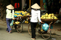 Fruit Vendors, Hanoi Old Quarter - Ubiquitous fruit vendors peddling baskets of fresh produce through the streets of Hanoi according to their local beat.  Whether sold from the back of a bicycle or baskets balanced on bamboo shoulder poles, fresh fruit is very much part of the Hanoi scene.