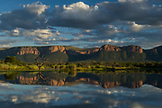 Fish Eagle Dam on Matlablas River & Waterberg Mountains<br /> Marakele Private Reserve, Waterberg Biosphere Reserve<br /> SOUTH AFRICA