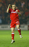 Photo. Andrew Unwin.<br /> Middlesbrough v Everton, Carling Cup Fourth Round, Riverside Stadium, Middlesbrough 03/12/2003.<br /> Middlesbrough's Bolo Zenden celebrates after scoring his penalty.