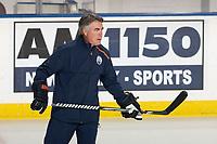 KELOWNA, BC - SEPTEMBER 23:  Edmonton Oilers' head coach Dave Tippett skates during practice at Prospera Place on September 23, 2019 in Kelowna, Canada. (Photo by Marissa Baecker/Shoot the Breeze)