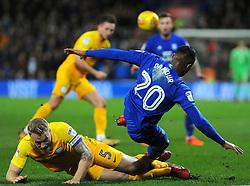 Tom Clarke of Preston North End tackles Loic Damour of Cardiff City- Mandatory by-line: Nizaam Jones/JMP - 29/12/2017 -  FOOTBALL - Cardiff City Stadium - Cardiff, Wales -  Cardiff City v Preston North End - Sky Bet Championship