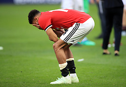 Manchester United's Jesse Lingard looks dejected after the game