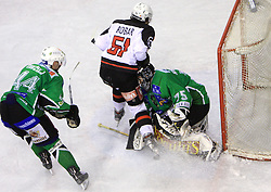 Mitja Robar crashed into goalkeeper Markus Korhonen at 39th Round of EBEL League ice hockey match between HDD Tilia Olimpija and HK Acroni Jesenice, on December 30, 2008, in Arena Tivoli, Ljubljana, Slovenia. Tilia Olimpija won 4:3. (Photo by Vid Ponikvar / SportIda).