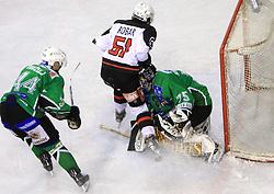 Mitja Robar crashed into goalkeeper Markus Korhonen at 39th Round of EBEL League ice hockey match between HDD Tilia Olimpija and HK Acroni Jesenice, on December 30, 2008, in Arena Tivoli, Ljubljana, Slovenia. Tilia Olimpija won 4:3. (Photo by Vid Ponikvar / SportIda).