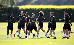 A general view of Arsenal players during the training session at London Colney, Hertfordshire.