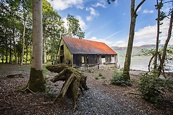 © London News Pictures. Picturd - The Lingholm estate boat house on the shore of Derwentwater. Previously unseen pictures of Beatrix potter with her family have been unearthed during the purchase and restoration of the Lingholm Estate, the Potter family holiday home, where Beatrix potter drew inspiration for many of her most famous characters. Famous books such as Peter Rabbit and Squirrel Nutkin were inspired by the surroundings of the Cumbria estate, which is being opened to the public for the first time. Photo credit: Andrew McCaren/LNP WORDS AVAILABLE HERE http://tinyurl.com/oyb7url