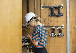 March 25, 2019 - Brea, California, U.S. - A student gathers tools during her Building Industry Technology Academy class at Bera Olinda High School in Brea, CA on Monday, March 25, 2019. The class aims to train a workforce ready for the building industry. (Credit Image: © Medianews Group/SCNG via ZUMA Wire)