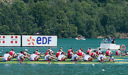 Aiguebelette, FRANCE   USA Men's Eight lead the field home to take the gold medal at the 2014 FISA World Cup II. 14:23:24  Sunday  22/06/2014. [Mandatory Credit; Peter Spurrier/Intersport-images]