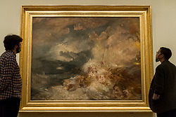 """© Licensed to London News Pictures. 26/10/2020. LONDON, UK. """"A Disaster at Sea"""", 1835, by JMW Turner. Preview of """"Turner's Modern World"""", a new landmark exhibition of over 150 works exhibition by JMW Turner at Tate Britain, 28 October to 7 March 2021.  Photo credit: Stephen Chung/LNP"""