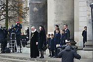 20.02.2018. Copenhagen, Denmark. <br /> Queen Margrethe, Royal priest Erik Nordmand Svendsen, Crown Princess Mary, Crown Prince Frederik, Princess Isabella, Princess Josephine, Prince Vincent, Prince Christian outside at the Christiansborg Palace Church. <br /> Prince Henrik's coffin is carried out of the church and placed in the hearse, before it leaves the church.<br /> Photo: Ricardo Ramirez.