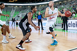 during basketball match between KK Union Olimpija and  Cimberio Varese (ITA) of 1st Round of Regular season of EuroCup 2013/2014 on October 16, 2013, in SRC Stozice, Ljubljana, Slovenia. (Photo by Urban Urbanc / Sportida)
