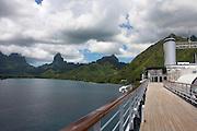French Polynesia, Moorea a cruise ship in a bay