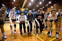 Team of RK Krim with trophy at last 10th Round handball match of Slovenian Women National Championships between RK Krim Mercator and RK Olimpija, on May 15, 2010, in Galjevica, Ljubljana, Slovenia. Olimpija defeated Krim 39-36, but Krim became Slovenian National Champion. (Photo by Vid Ponikvar / Sportida)