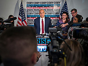 05 DECEMBER 2019 - DES MOINES, IOWA: Senator Booker is running to be the US Senator CORY BOOKER (D-NJ) talks to reporters in the press gaggle after he finished his formal speech in Des Moines Friday. He talked about the need to reunify the country. Senator Booker is running to be the Democratic nominee for the US Presidency in 2020. Iowa hosts the first selection event of the presidential election season. The Iowa caucuses are February 3, 2020.    PHOTO BY JACK KURTZ
