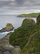 View over Penguin Bay, Otago, New Zealand on a grey, dreary day.