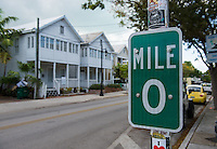 KEY WEST, FL - CIRCA 2012: Mile Marker 0 in Key West US1 circa 2012. The tropical city is a popular tourist destination with over 2 million yearly visitors.