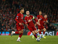 Football - 2019 / 2020 UEFA Champions League - Group E: Liverpool vs. Napoli<br /> <br /> Roberto Firmino of Liverpool drives through midfield supported by Jordan Henderson, at Anfield.<br /> <br /> COLORSPORT/ALAN MARTIN