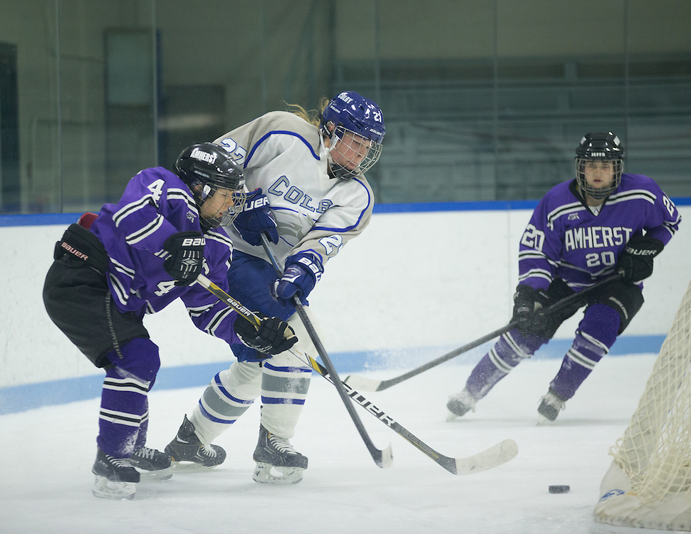Kat Mackey, of Colby College, in a NCAA Division III hockey game against Amherst College on January 9, 2015 in Waterville, ME. (Dustin Satloff/Colby College Athletics)