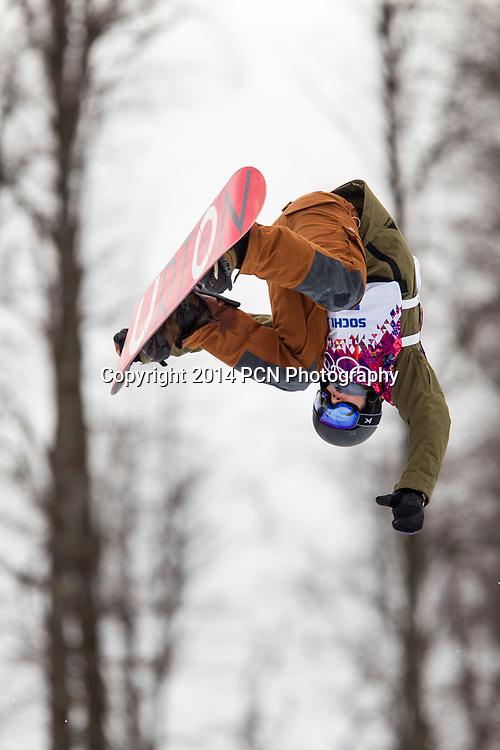 David Habluetzel (SWI) competing in Men's Snowboard Halfpipe at the Olympic Winter Games, Sochi 2014
