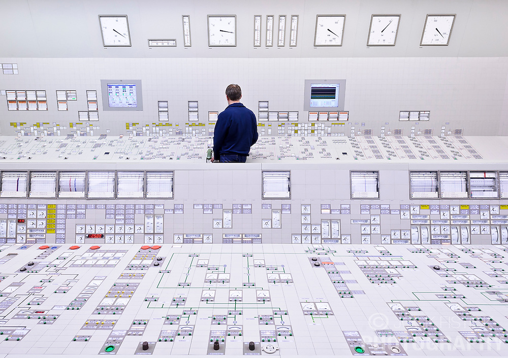 An RWE employee works in the control room at the RWE nuclear power plant, in Lingen, Germany. (Photo © Jock Fistick)