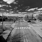 Looking north from the train bridge along Princess Anne Street in Fredericksburg, VA.