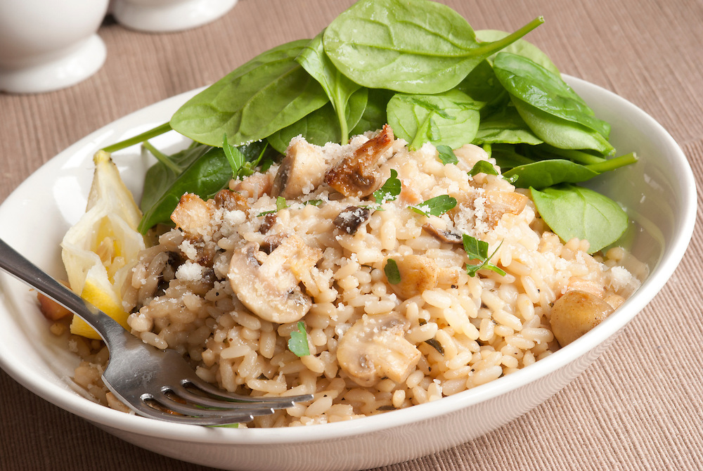 Spinach, Mushroom And Lemon Risotto