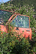 Derelict rusty car, a sign of economic crisis and downturn, in Corfu, Greece
